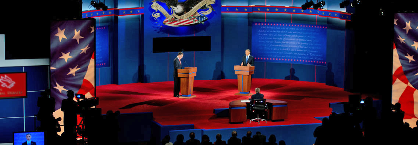 Barack Obama and Mitt Romney at their first presidential debate in 2012.