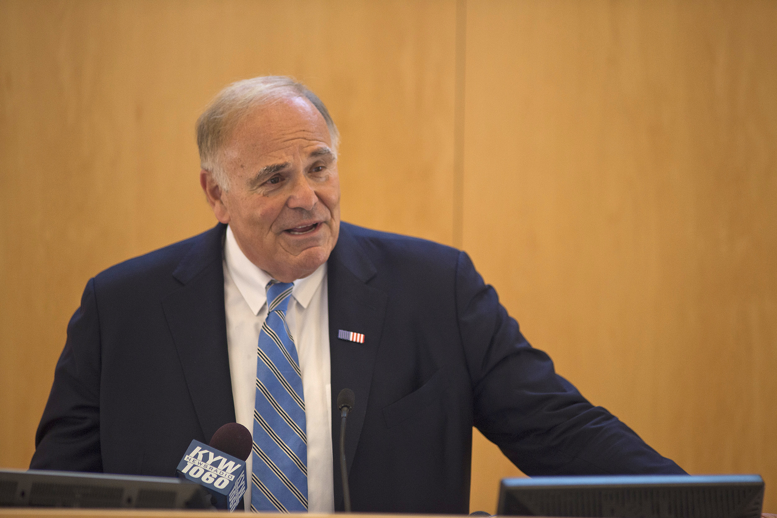 Former Gov. Ed Rendell announces the 2016 Lenfest Citizenship Challenge finalists.
