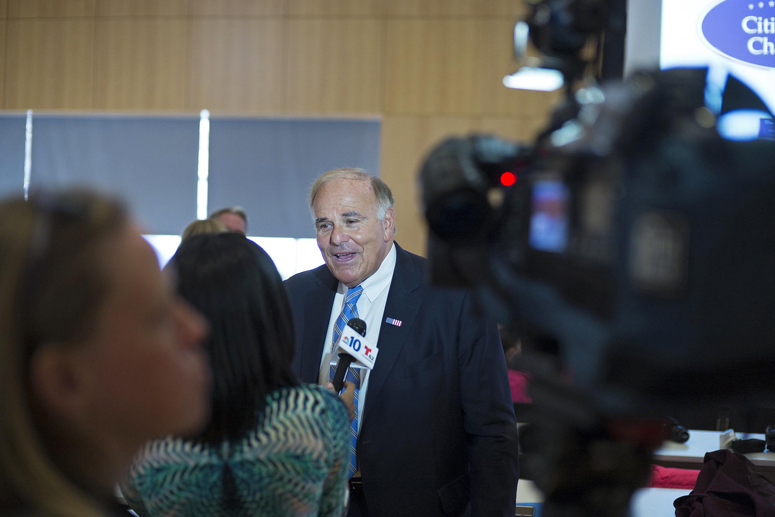 Former Gov. Ed Rendell speaks with a reporter from NBC 10 Philadelphia.
