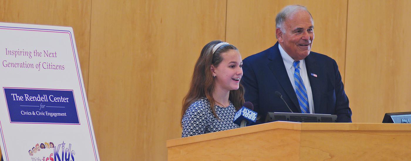 Former Gov. Ed Rendell and Radnor Elementary School 5th grader Mallory Toomey.