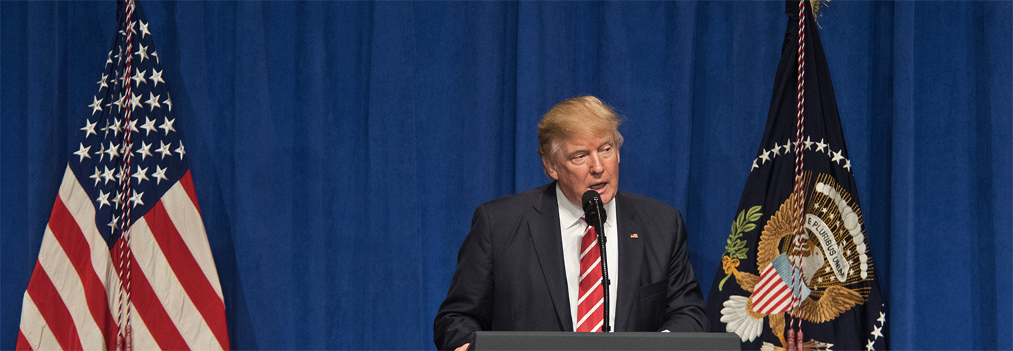 Trump speaking at MacDill Air Force Base on Feb. 6, 2017. Credit: DoD/D. Myles Cullen.