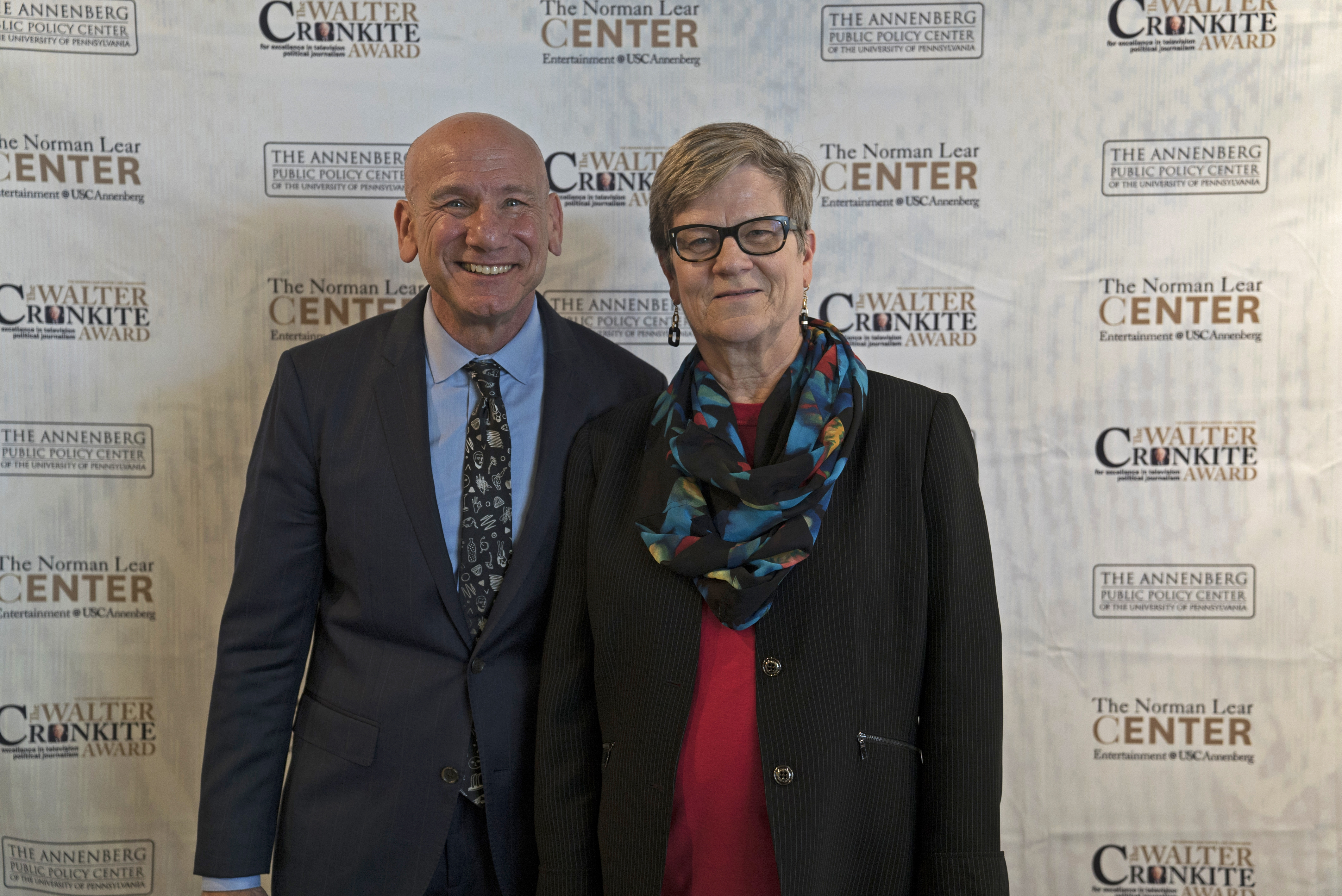 USC Annenberg professor and Lear Center Director Marty Kaplan, with Kathleen Hall Jamieson.