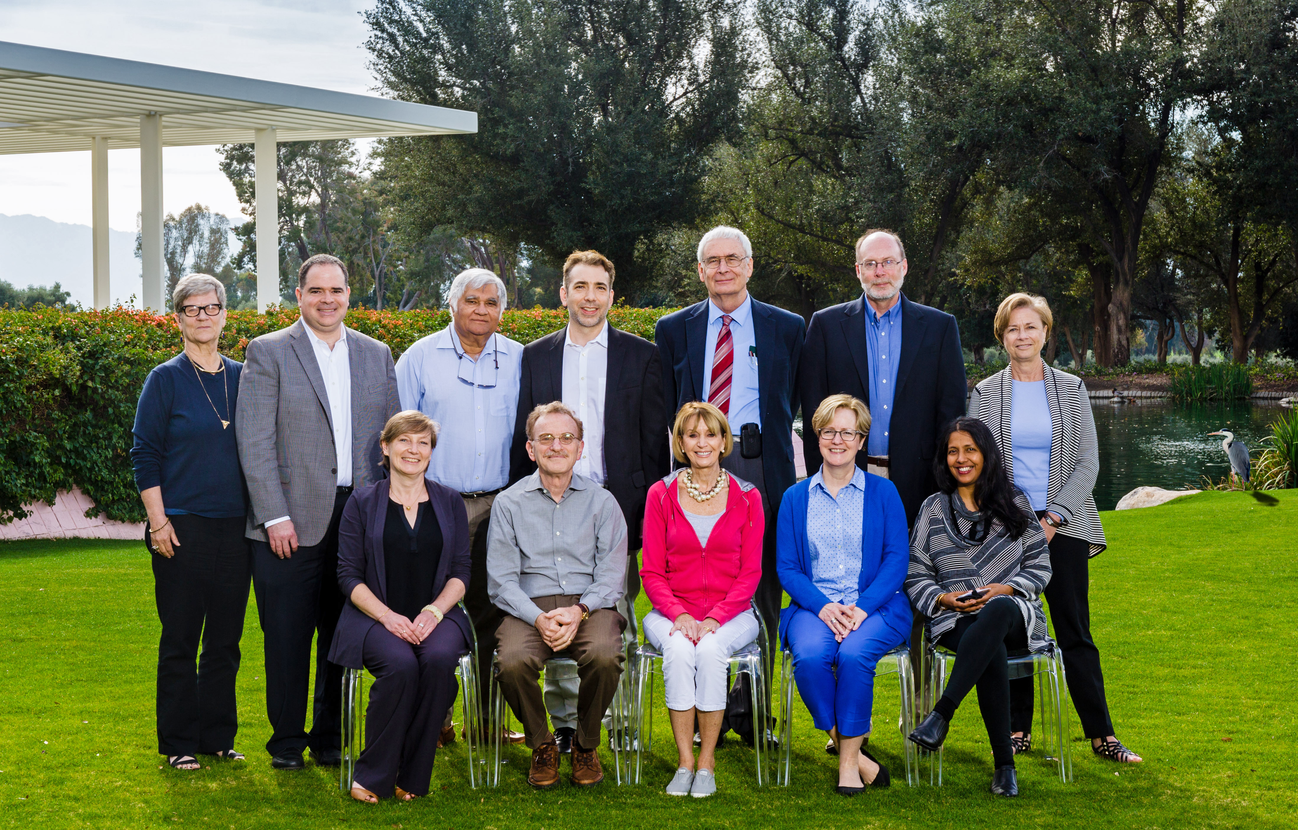 Participants from the February 2017 authorship retreat. Front row (left to right): Véronique Kierner, Randy Sheckman, Marcia McNutt, Monica Bradford, and Sowmya Swaminathan. Back row (left to right): Kathleen Hall Jamieson, Bob Howard, Inder Verma, Michael Magoulias, Peter Stang, Brooks Hanson, and Barbara Kline Pope. Credit: The Annenberg Foundation Trust at Sunnylands.