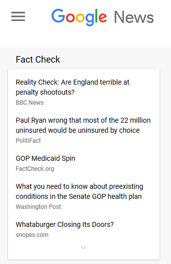 FactCheck.org featured in Google News' new dedicated fact-checking section.