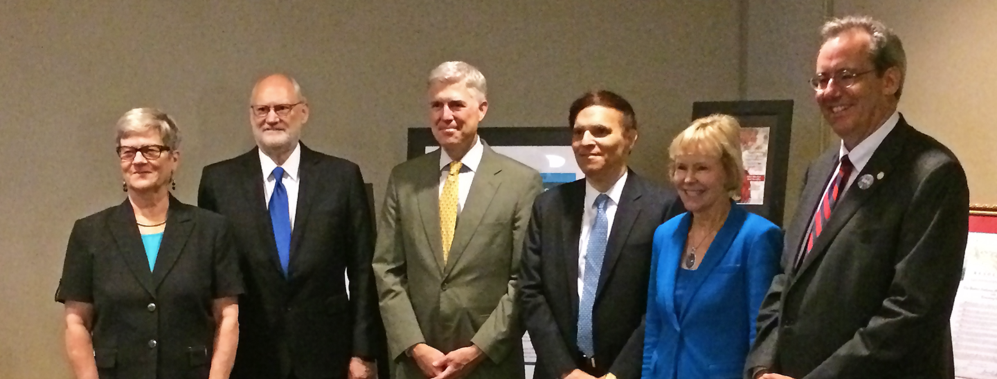 Jamieson with attendees of the Ninth Circuit Judicial Conference (left to right): Hon. Sidney Thomas, Chief Judge, U.S. Court of Appeals for the Ninth Circuit; Associate Justice of the Supreme Court, Hon. Neil Gorsuch; Hon Robert Katzmann, Chief Judge, U.S. Court of Appeals for the Second Circuit; Hon. Marilyn Huff, Senior District Court Judge and President of the Federal Judges Association, and Hon. Michael Newman, Magistrate Judge, Southern District of Ohio and President of the Federal Bar Association.