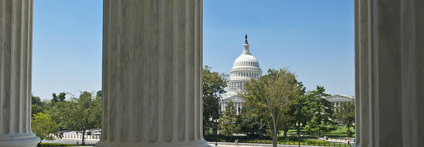 The U.S. Capitol Building seen from the steps of the Supreme Court. Credit: U.S. Department of State/IIP Bureau.