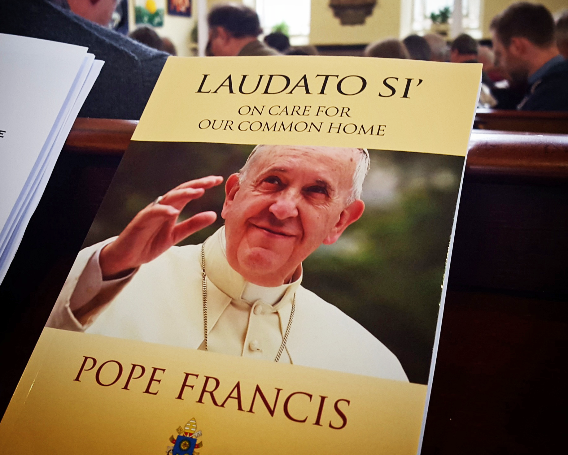 A copy of Pope Francis' encyclical Laudato Si'. Credit: John Bergström-Allen.