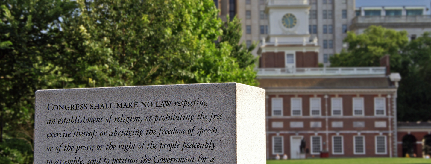 The First Amendment on a tablet outside Independence Hall in Philadelphia. Credit: Kjell Larsson.