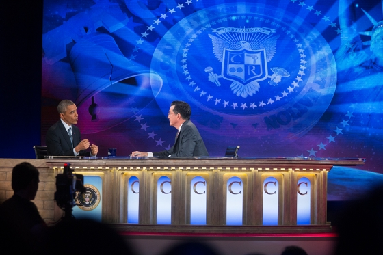 """President Barack Obama tapes an interview for """"The Colbert Report with Stephen Colbert"""" at Lisner Auditorium at George Washington University in Washington, D.C., December 8, 2014. Credit: Pete Souza"""