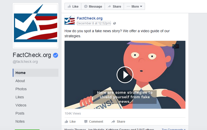 "Image from FactCheck.org's video ""How to Spot Fake News,"" posted on its Facebook page."