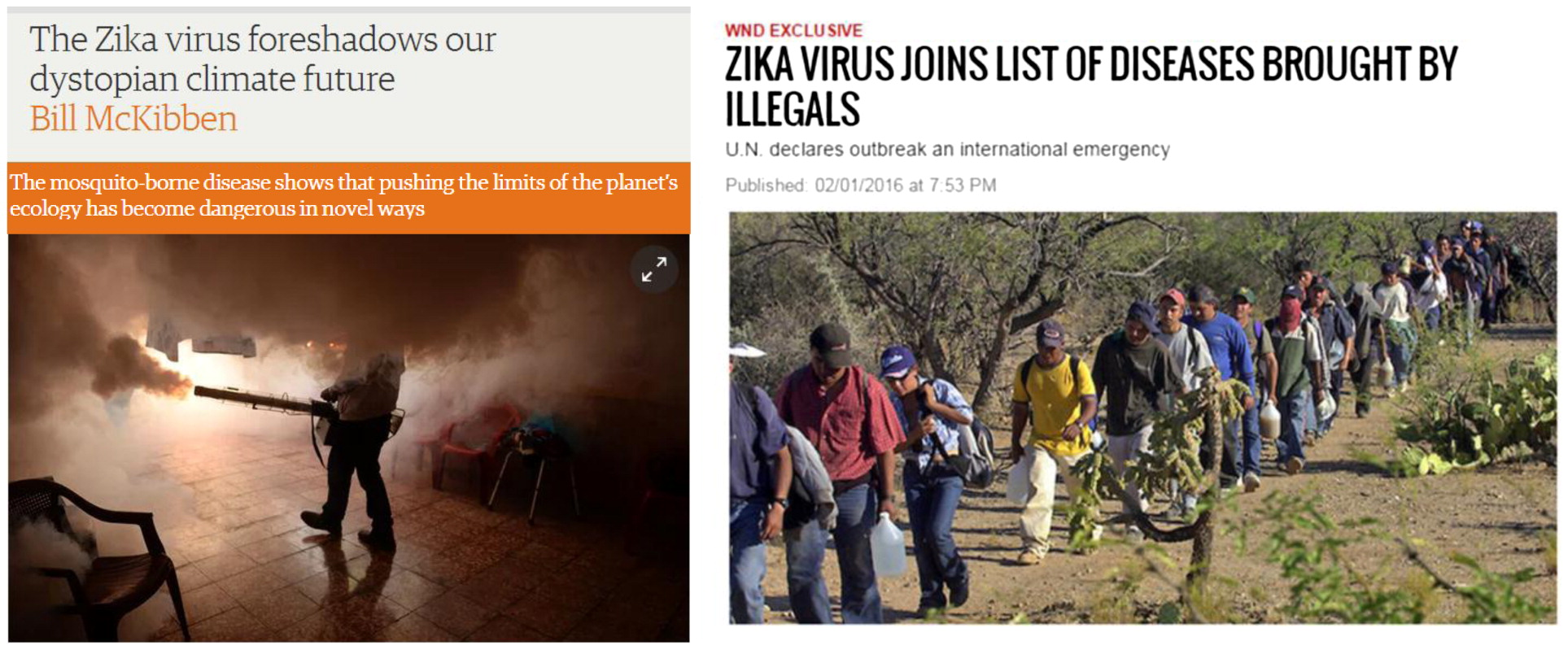 Headlines showing culturally antagonistic memes on the Zika virus. (Figure 3)