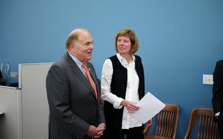 Former Gov. Ed Rendell and school district Chief of Staff Naomi Wyatt