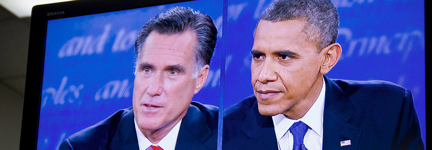 Republican Mitt Romney and Democratic President Barack Obama in a 2012 debate. Credit: Rose Trieu/Flickr