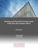 """Cover of """"Smoking and Pictorial Warning Labels: What Does the Evidence Show?"""" issue brief."""