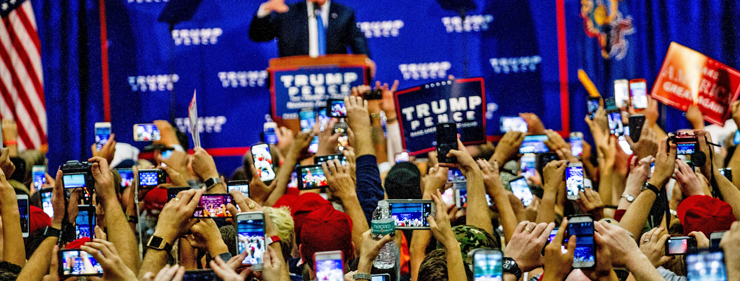 Supporters at a Trump rally in Newtown, Bucks County, PA on October 21, 2016. Credit: Michael Candelori.