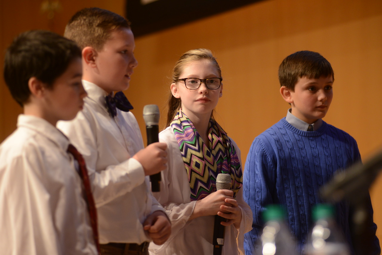 Students from Chestnutwold Elementary answer questions from the panel of judges.