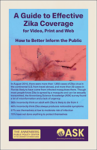 """The cover for """"A Guide to Effective Zika Coverage."""""""