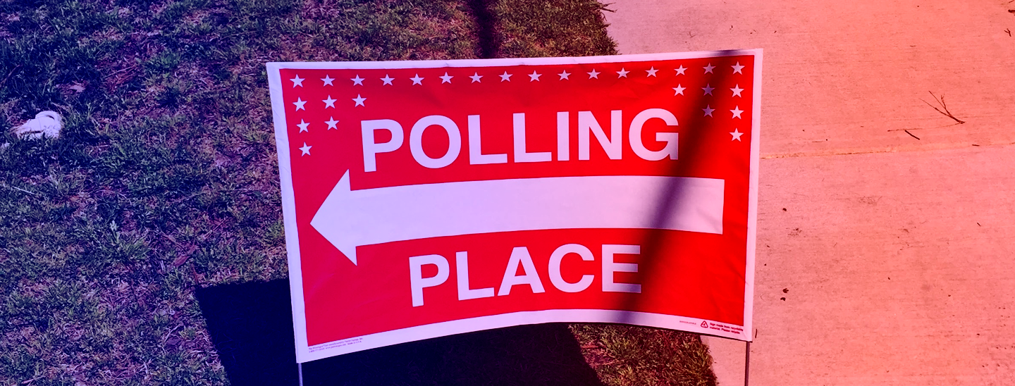 Sign for a polling location.