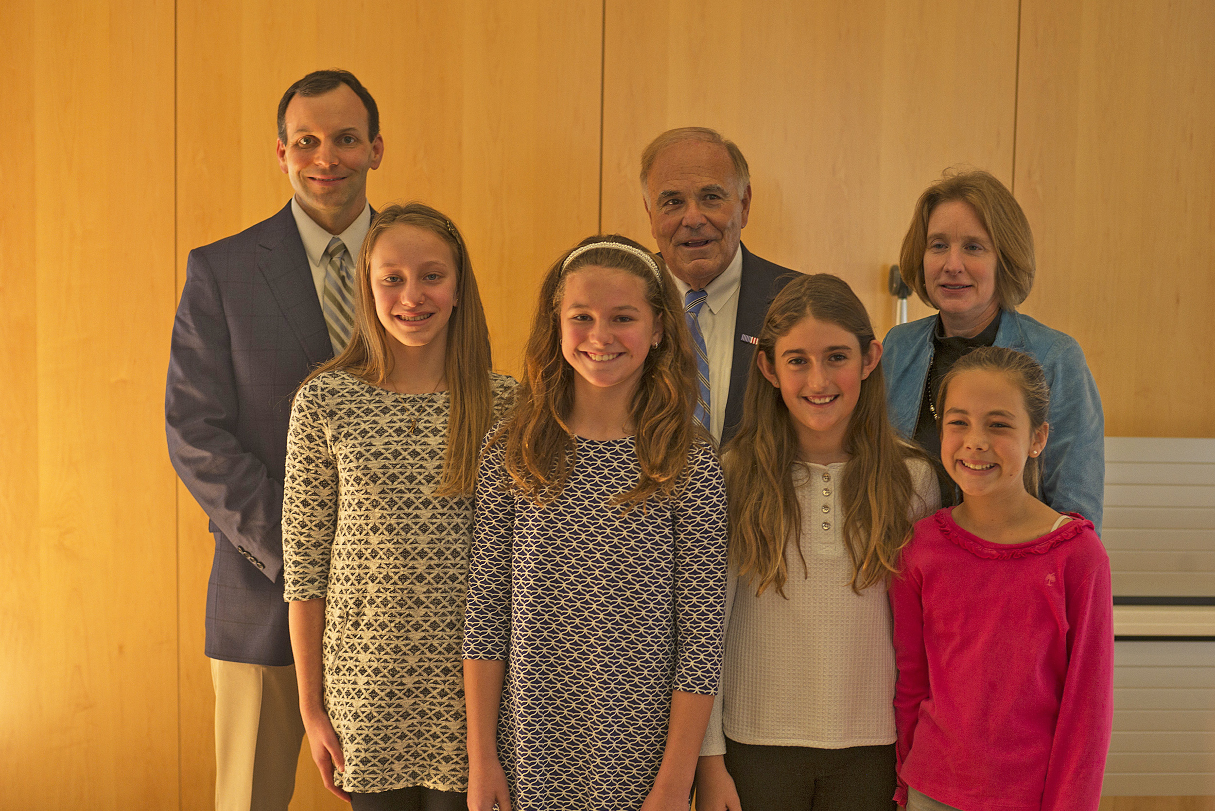 the annenberg public policy center of the university of radnor 5th graders front l to r sophia mlodzienski mallory toomey gabriela heberling and lydia schwarz back radnor s jim kearney former gov