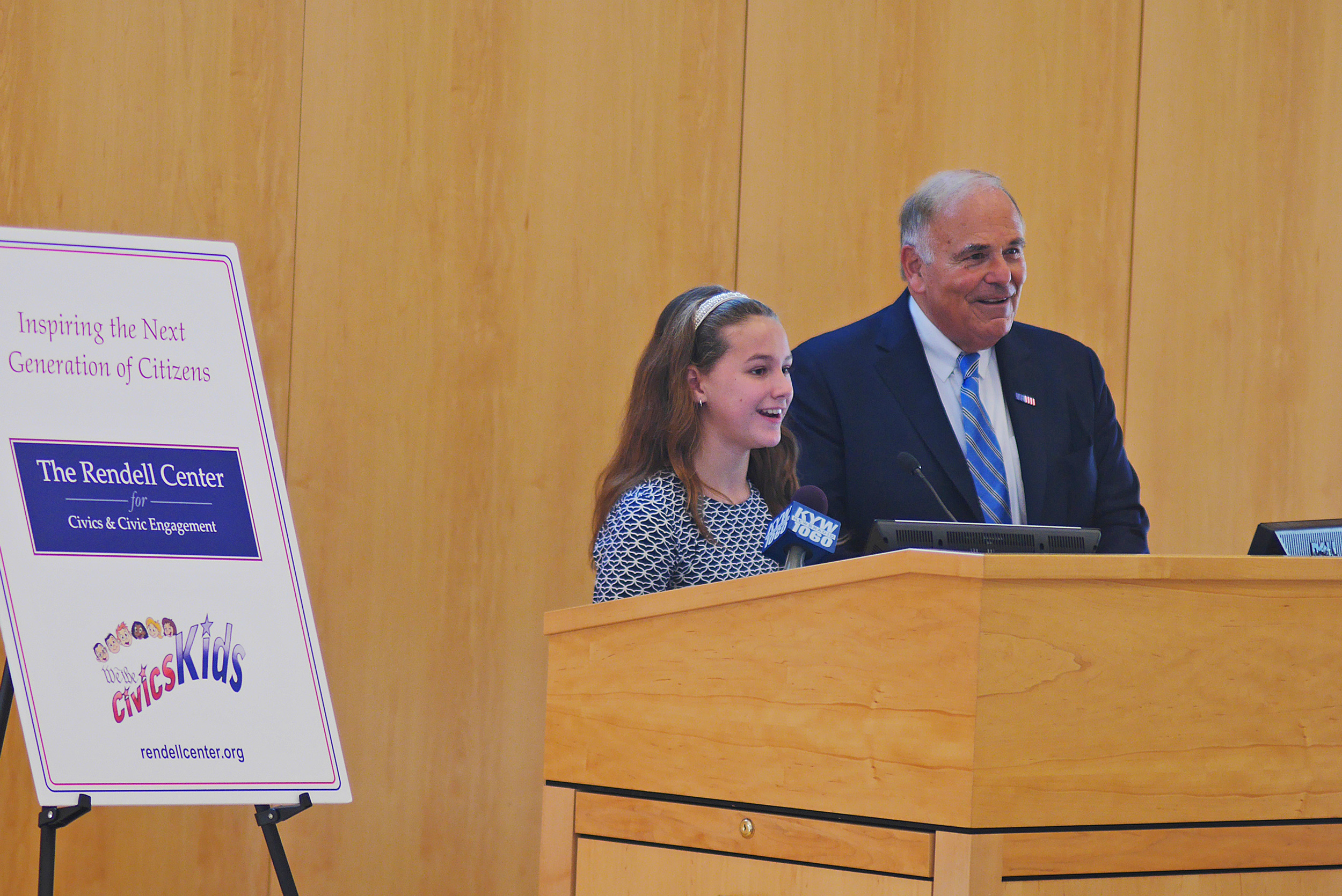 Former Gov. Ed Rendell and Radnor Elementary School 5th grader Mallory Toomey.