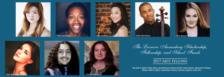 Leonore Annenberg arts fellows in 2017: Ruibo Qian, Ato Blankson-Wood, Jia Kim, Khari Joyner, Samantha Hankey, Cassandra Trenary, Herman Aguirre and Emily Erb.