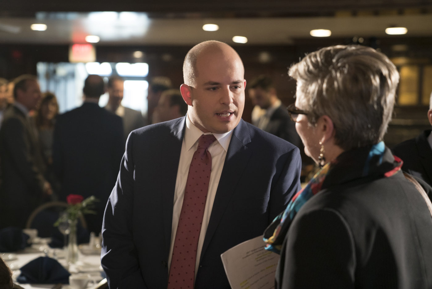 "Brian Stelter, host of CNN's ""Reliable Sources,"" talks with Kathleen Hall Jamieson."