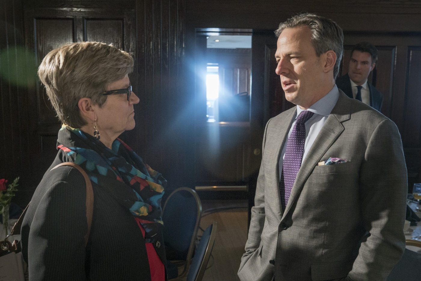 Annenberg Public Policy Center director Kathleen Hall Jamieson and CNN's Jake Tapper.