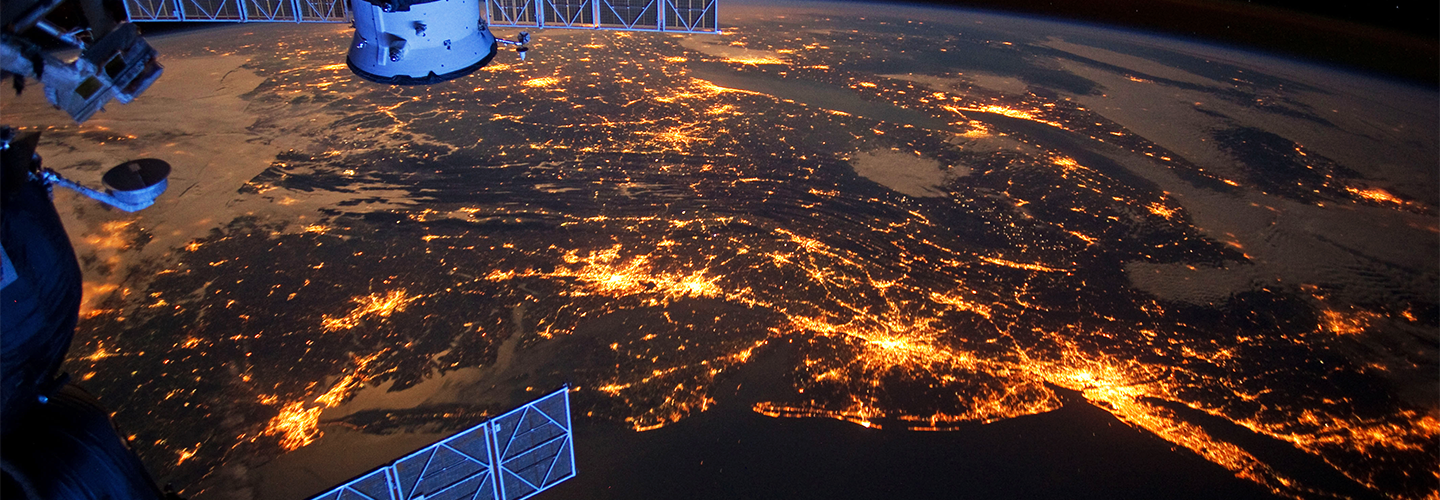 Lights of the U.S. Eastern Seaboard at night, as seen from the International Space Station. Credit: NASA Earth Observatory.