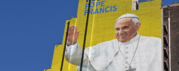 Mural by the Diocese of Brooklyn welcoming Pope Francis to NYC. Credit: Teri Tynes.