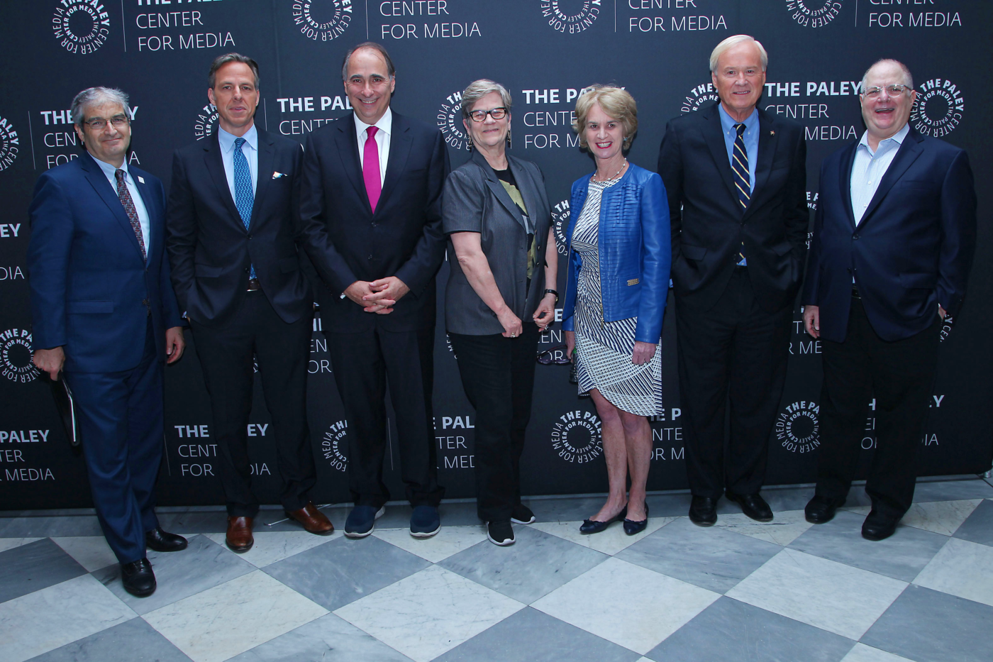 Left to right: JFK Library Foundation Executive Director Steven M. Rothstein, Jake Tapper, David Axelrod, Kathleen Hall Jamieson, Kathleen Kennedy Townsend, Chris Matthews, and Frank Rich. Credit: Kristina Bumphrey/StarPix.