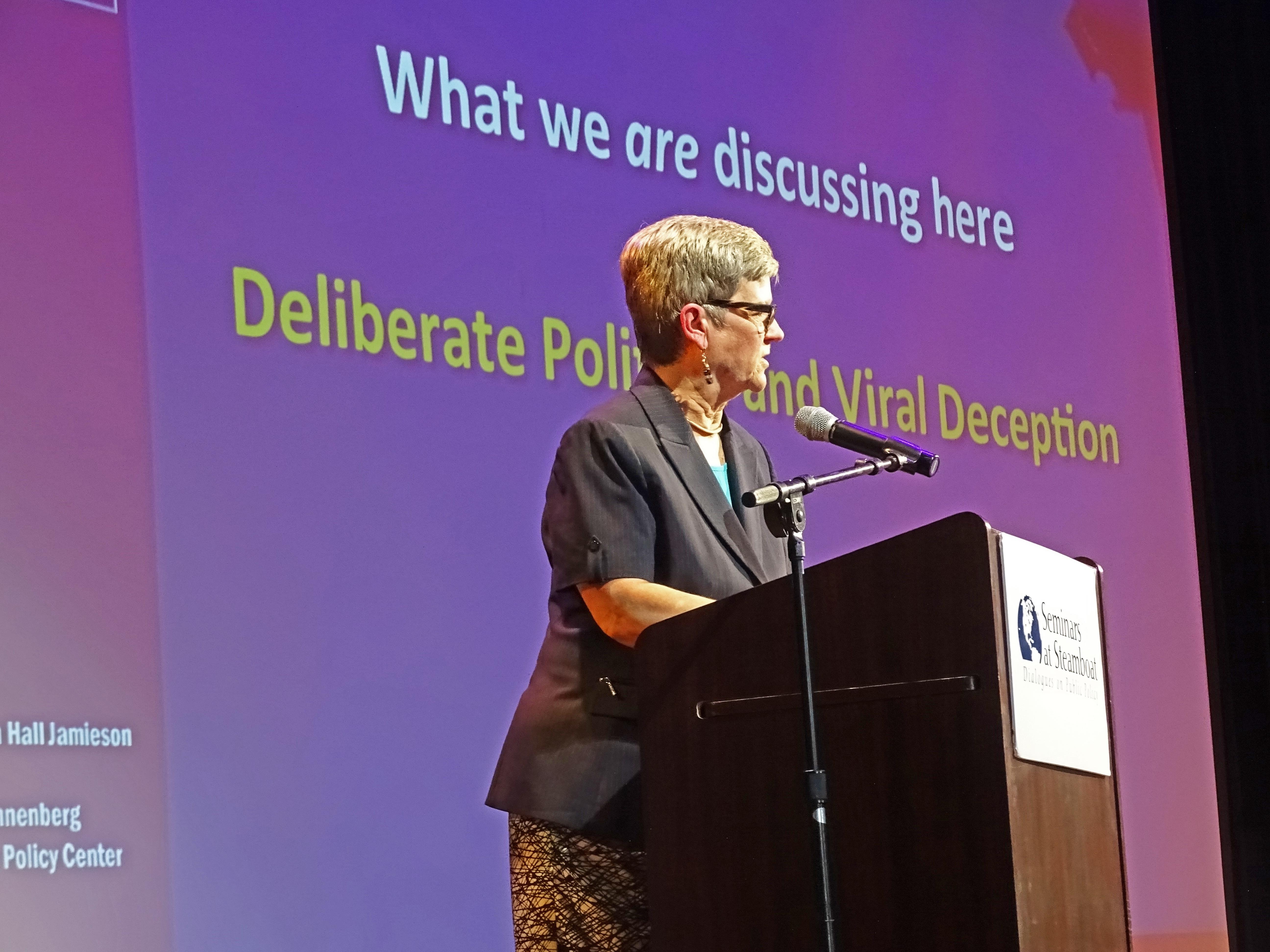 Kathleen Hall Jamieson presents at Seminars at Steamboat. Credit: Jennie Lay.