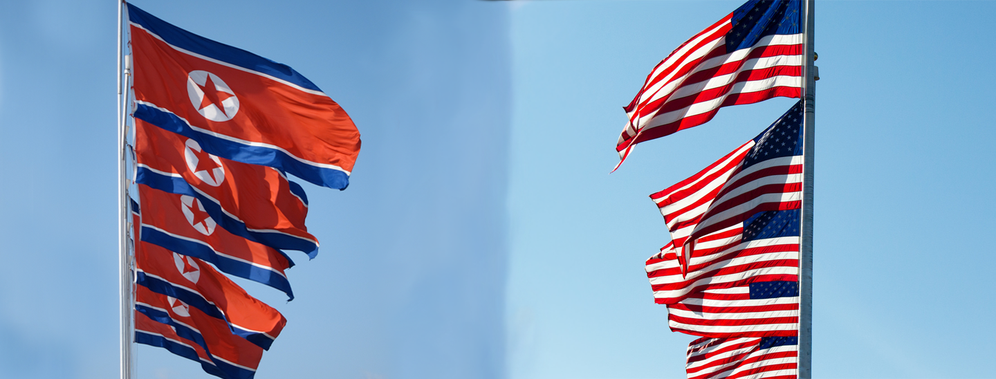 Flags of North Korean and the United States. Credit: John Pavelka (left) and Martin Alonso (right).