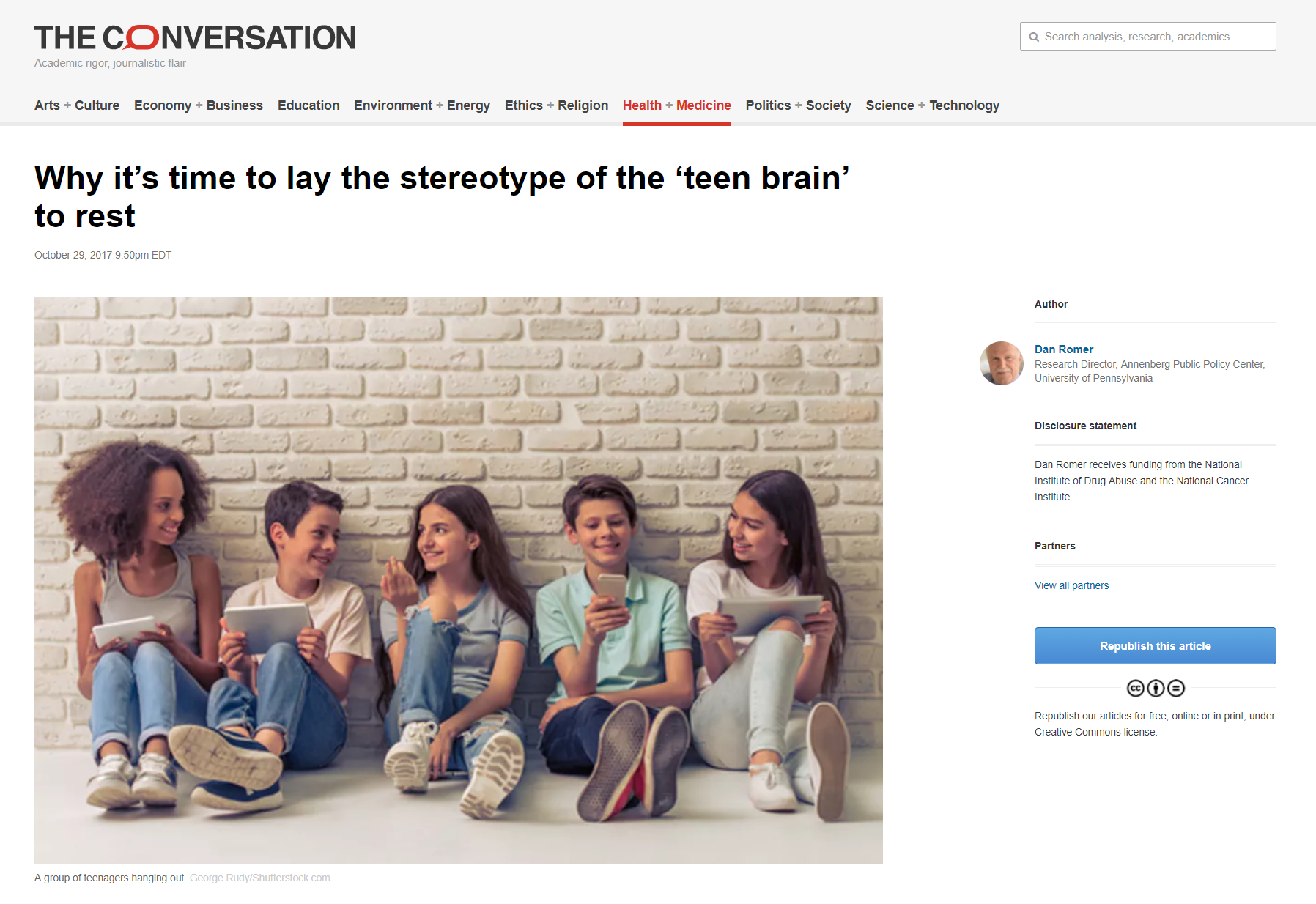 "Romer's article: ""Why it's time to lay the stereotype of the teen brain to rest,"" The Conversation."