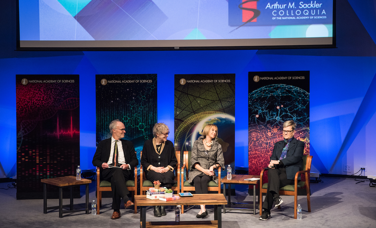 Kevin Finneran, Susan Fiske, Marcia McNutt, and Kathleen Hall Jamieson at the Sackler Colloquium on the Science of Science Communication III at the National Academy of Sciences. Credit: Kevin Allen Photography.