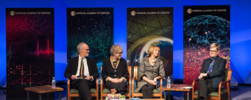 A panel with Kevin Finneran, Susan Fiske, Marcia McNutt, and Kathleen Hall Jamieson at the Arthur M. Sackler Colloquium on the Science of Science Communication III at the National Academy of Sciences. Credit: Kevin Allen Photography.