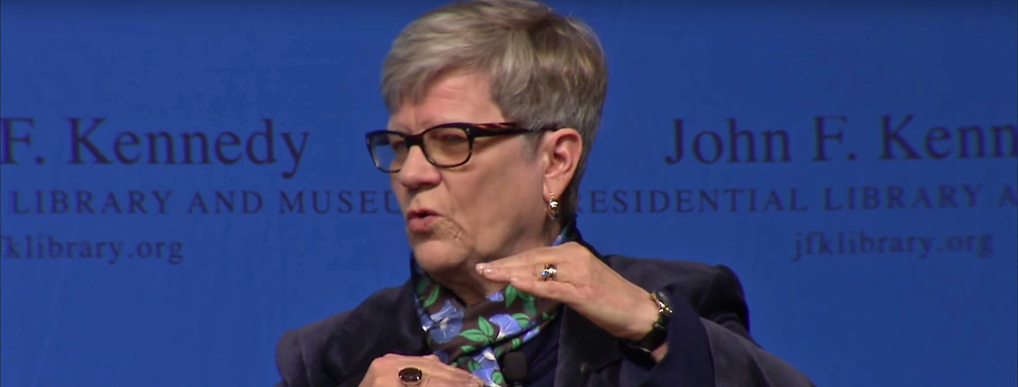 Kathleen Hall Jamieson speaks at the Kennedy Library Forum on December 11, 2017.