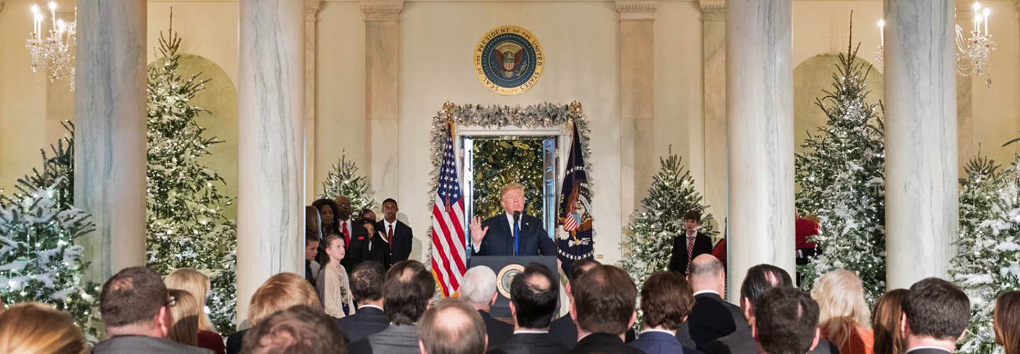 Trump talks tax reform in the White House Grand Foyer. Credit: The White House.