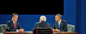 Romney and Obama face off in the third presidential debate on October 22, 2012. Credit: Scout Tufankjian.