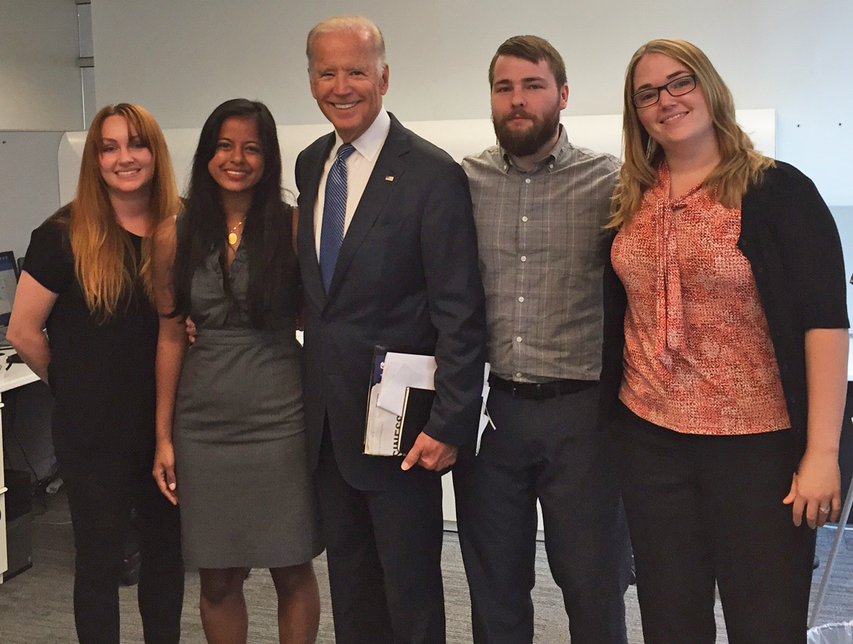APPC postdoctoral fellows Ariel Hassell, Meghnaa Tallapragada, Ben Lyons, and Brienne Suldovsky (left to right) with Vice President Biden (center).