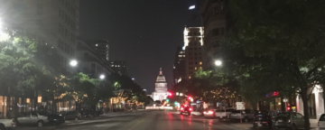 Nighttime view of Austin, TX.