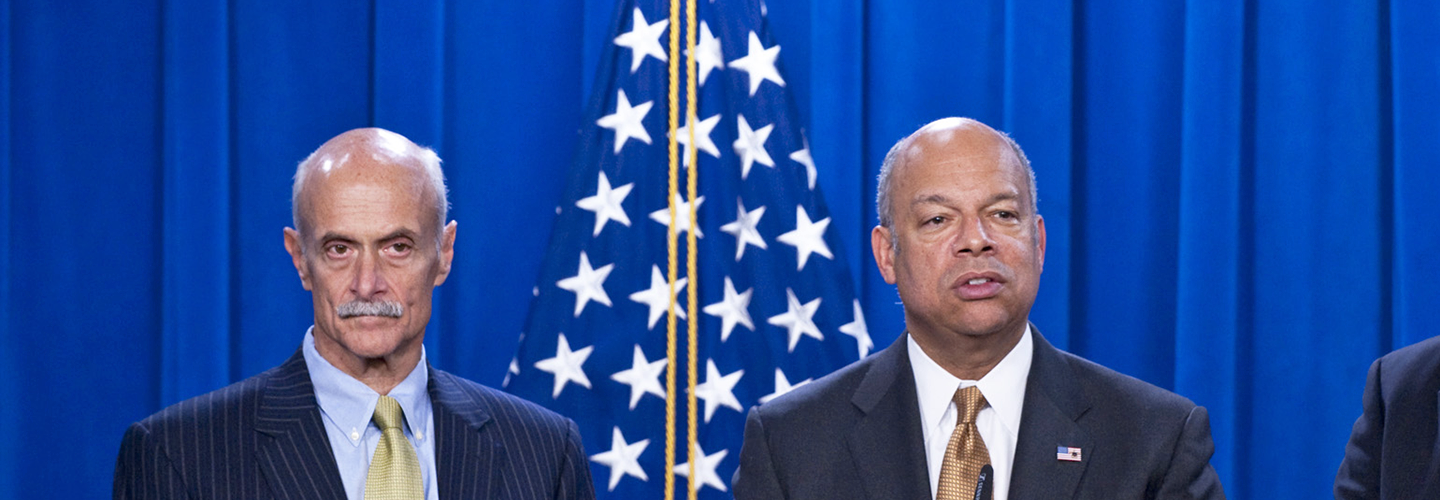 Former DHS Secretaries Michael Chertoff and Jeh Johnson. Credit: DHS/Barry Bahler.