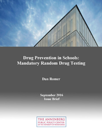 "Cover of ""Drug Prevention in Schools: Mandatory Random Drug Testing"" issue brief."