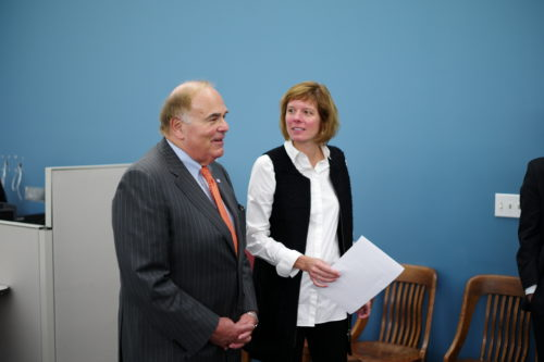 Former Gov. Ed Rendell and school district Chief of Staff Naomi Wyatt