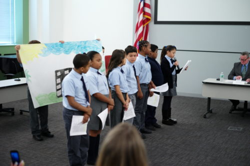 Students from Elizabeth Pond's fifth-grade class at Julia de Burgos School.