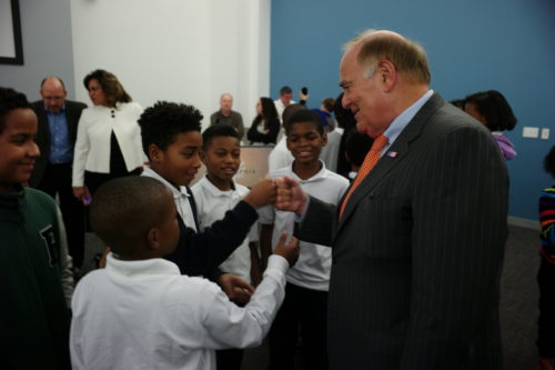 Former Gov. Rendell interacts with students.
