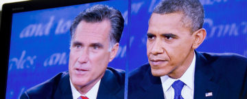 Republican Mitt Romney and Democratic President Barack Obama in a 2012 debate. Credit: Flickr/Rose Trieu.