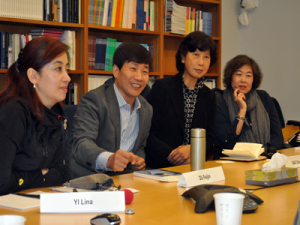Journalists (from left) Yi Lina, Du Feijin, Gao Xiaohong and Zhan Liping visiting APPC.