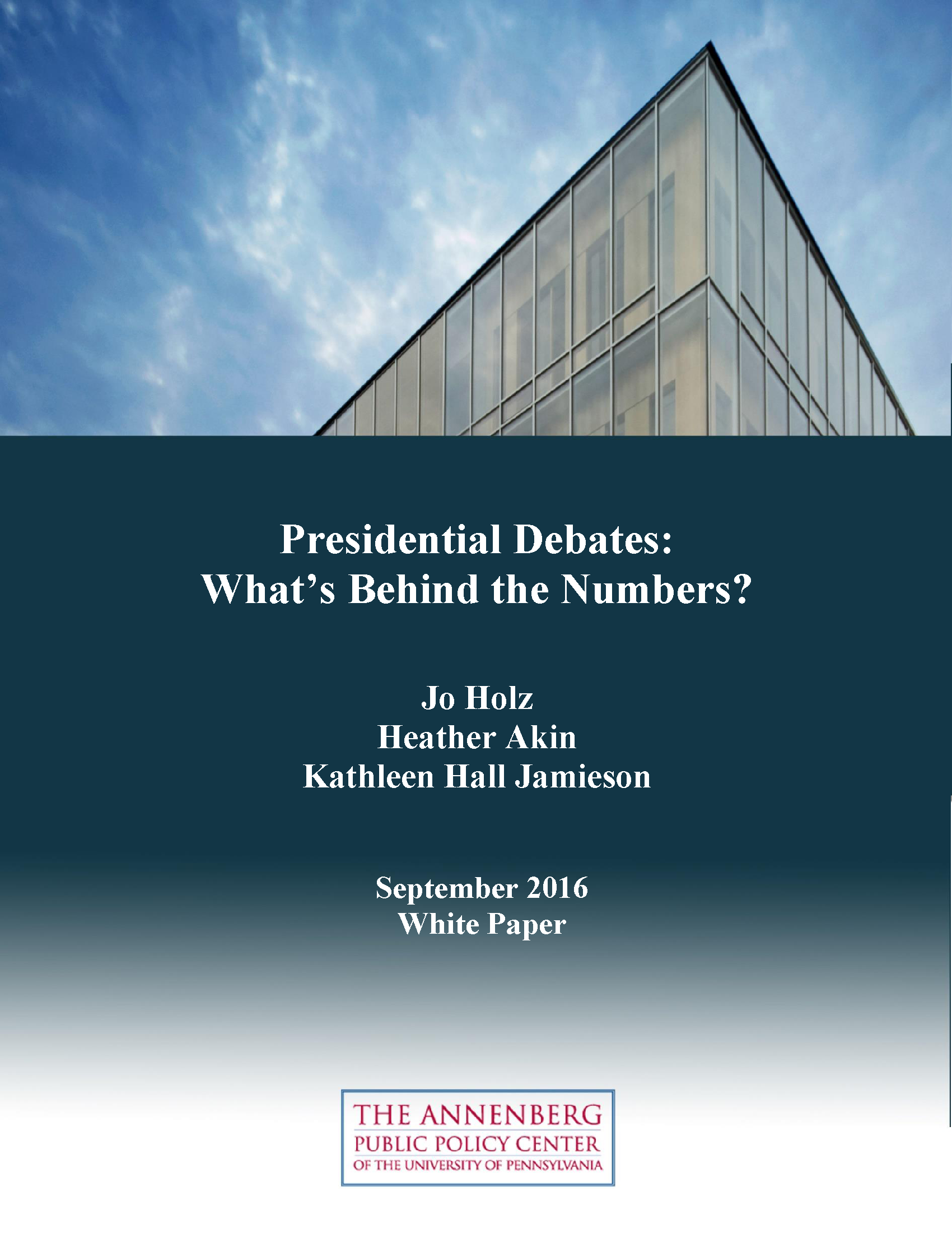 "Cover of ""Presidential Debates: What's Behind the Numbers?"" white paper."