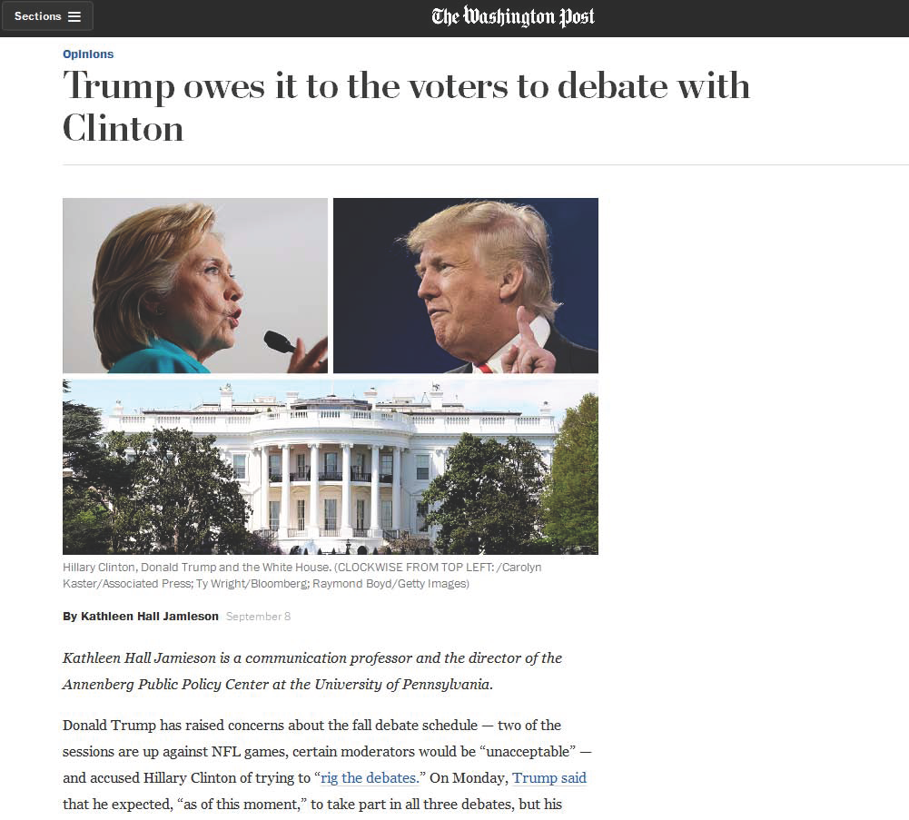 """Trump owes it to the voters to debate with Clinton,"" Kathleen Hall Jamieson in The Washington Post."