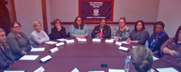 """Women at Columbus, Ohio focus group for the """"Voices of the Voters"""" project."""